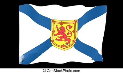 Flag of the Canadian Province of Nova Scotia. Waving