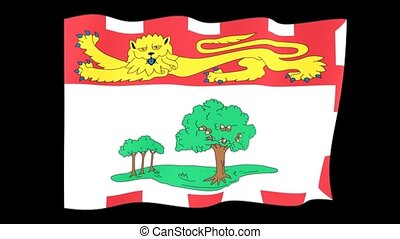 Flag of the Canadian Province of Prince Edward Island. Waving