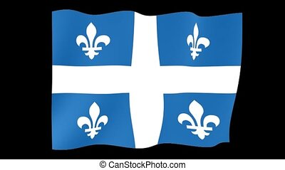 Flag of the Canadian Province of Quebec. Waving (PNG) computer animatie.