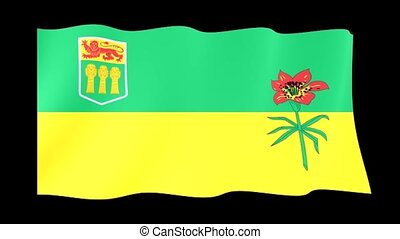 Flag of the Canadian Province of Saskatchewan. Waving