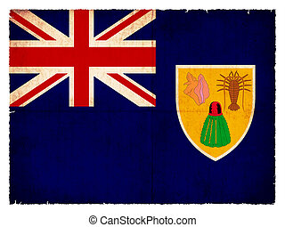 Flag of the Caribbean islands Turks and Caicos Islands (British overseas territory) created in grunge style