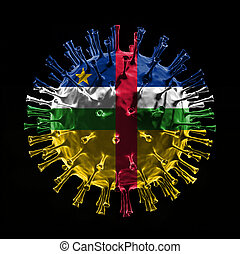 Flag of the Central African Republic on Covid-19 is virus concept. 3D rendering