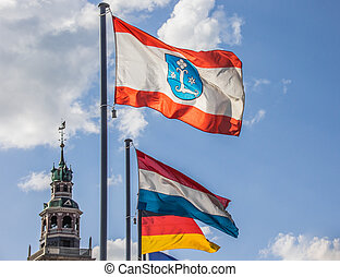 Flag of the city Leer in front of the Rathaus
