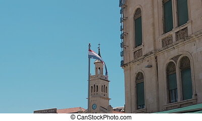 Flag of the city of Split, Croatia. Against the background...