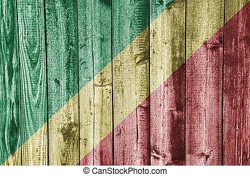 Flag of the Congo on weathered wood