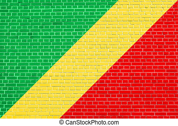 Flag of the Congo Republic on brick wall texture