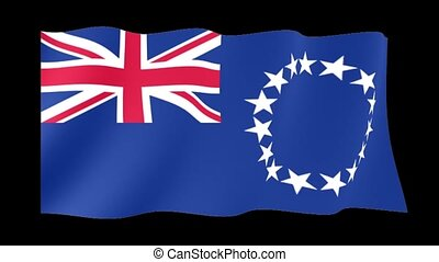 Flag of the Cook Islands. Waving