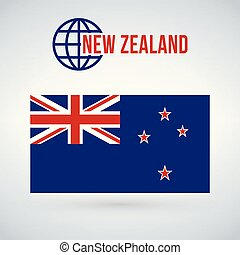 Flag of the country new zeland. vector illustration isolated on modern background with shadow.