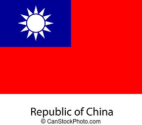 Flag of the country republic of china. Vector illustration.