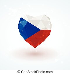Flag of the Czech Republic in shape diamond glass heart. Triangulation style