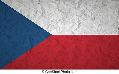 Flag of the Czech Republic with the effect of crumpled paper and grunge