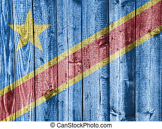 Flag of the Democratic Republic of the Congo on weathered...