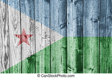 Flag of the Djibouti, Islands on weathered wood
