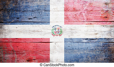 Flag of the Dominican Republic painted on grungy wood plank ...