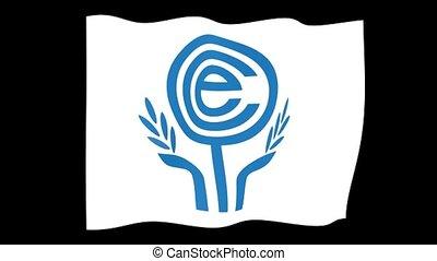 Flag of the Economic Coopration Organization. Waving