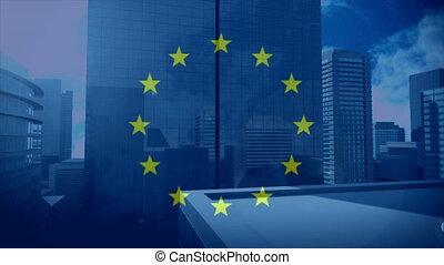 Flag of the EU with city