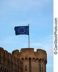 flag of the European Union flies over Saint Angel Castle in Rome