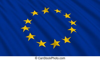Flag of the European Union waving in the wind - highly detailed fabric texture - seamless looping