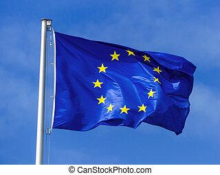 flag of the european union - the european union flag blowing...