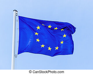 flag of the European union - the European union flag blowing...