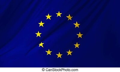 Flag of the European Union waving in the wind 2 in 1
