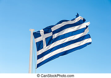 Flag of the Greece in the wind