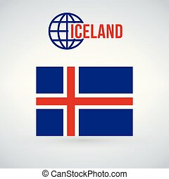 Flag of the Iceland. vector illustration isolated on modern background with shadow.