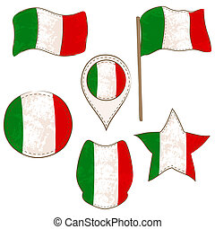 Flag of the Italy Performed in Defferent Shapes