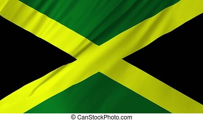 Flag of the Jamaica waving in the wind animation 2 in 1