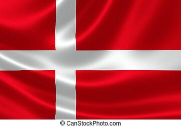 3D rendering of the flag of Denmark on satin texture.