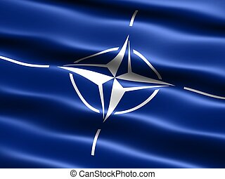 Computer generated illustration of the flag of the North Atlantic Treaty Organisation (NATO)with silky appearance and waves