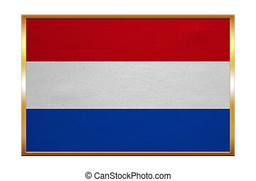 Flag of the Netherlands, golden frame, textured