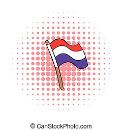 Flag of the Netherlands icon, comics style