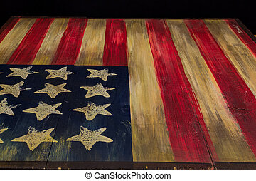 Flag of the old USA drawn on a wood table - Flag of the old...