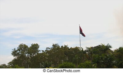 Flag of the Papua New Guinea under a gloomy weather - An...