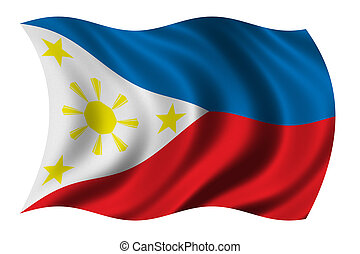 Flag of the Philippines waving in the wind - clipping path ...