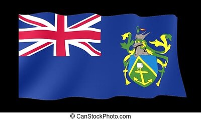 Flag of the Pitcairn Islands. Waving flag