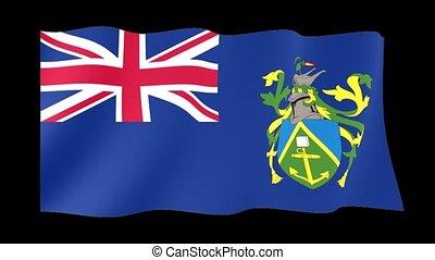 Flag of the Pitcairn Islands. Waving flag