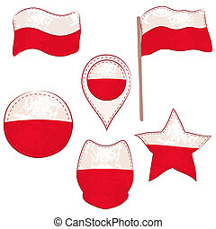 Flag of the Poland Performed in Defferent Shapes