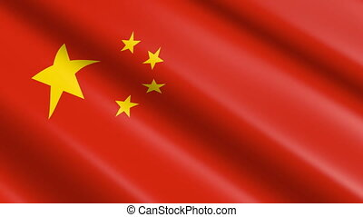Flag of the PRC/ People Republic of China (seamless loop)
