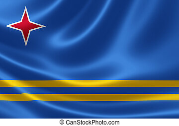 Flag of the Republic of Aruba - 3D rendering of the flag of ...