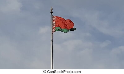 flag of the Republic of Belarus on the flagpole flutters from the gusts of wind. Stock video.