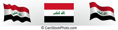 Flag of the Republic of Iraq in a static position and in motion, developing in the wind, on a white background