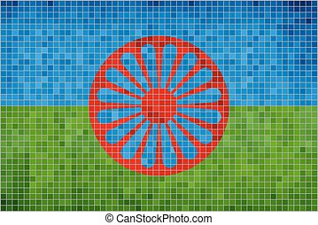 Flag of the Romani people - Illustration, Abstract Mosaic of...