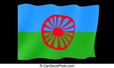 Flag of the Romani people. Waving