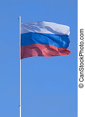 Flag of the Russian federation blowing on a wind