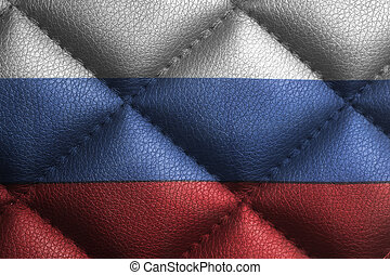 Flag of the Russian Federation on leather texture