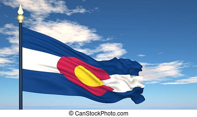 Flag state of Colorado on the background of the sky and flying clouds