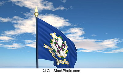 Flag state of Connecticut on the background of the sky and flying clouds