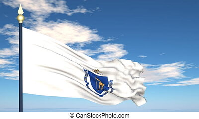 Flag of the state of Massachusetts USA - Flag state of...